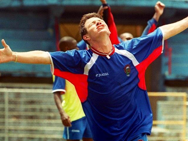 Rolando Fonseca celebrates scoring for Costa Rica on October 07, 2000.
