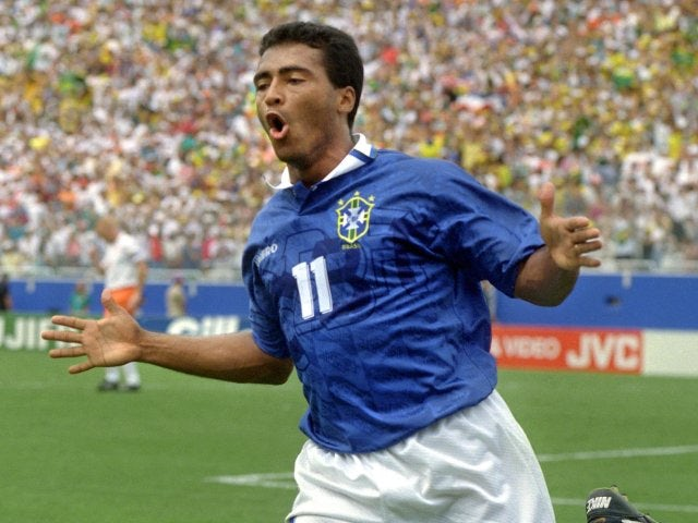 Romario celebrates scoring for Brazil against The Netherlands on July 09, 1994.