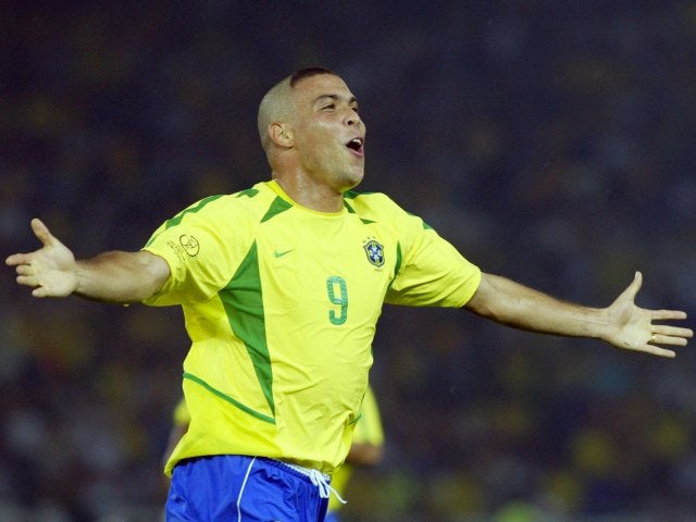 Ronaldo celebrates scoring in the World Cup final for Brazil against Germany on June 30, 2002.