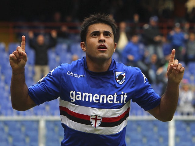 Eder Citadin Martins of UC Sampdoria celebrates his goal (1:1) during the Serie A match between UC Sampdoria and AC Chievo Verona at Stadio Luigi Ferraris on April 27, 2014