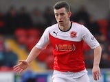 Fleetwood's Steven Schumacher in action against Northampton during the League Two match on February 15, 2014