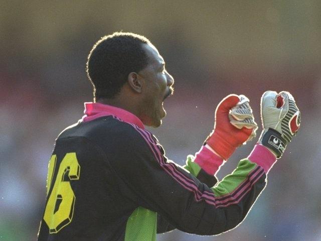Thomas Nkono keeps goal for Cameroon against England on June 23, 1990.