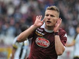 Ciro Immobile of Torino FC celebrates his goal during the Serie A match between Torino FC and Udinese Calcio at Stadio Olimpico di Torino on April 27, 2014