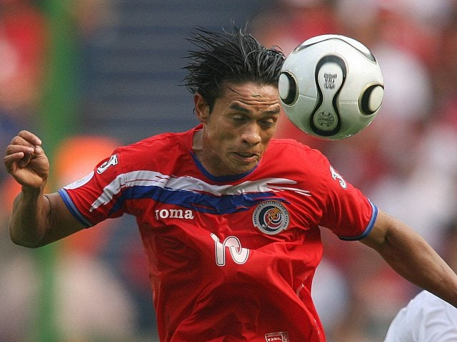 Costa Rica's Walter Centeno wins a header against Poland on June 20, 2006.