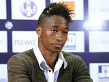 Portuguese's forward Yannick Djalo, who joined Toulouse football club from Benfica Lisbon on a season-long loan attends a press conference, at the Stadium Municipal in Toulouse, southwestern France, on September 1, 2012