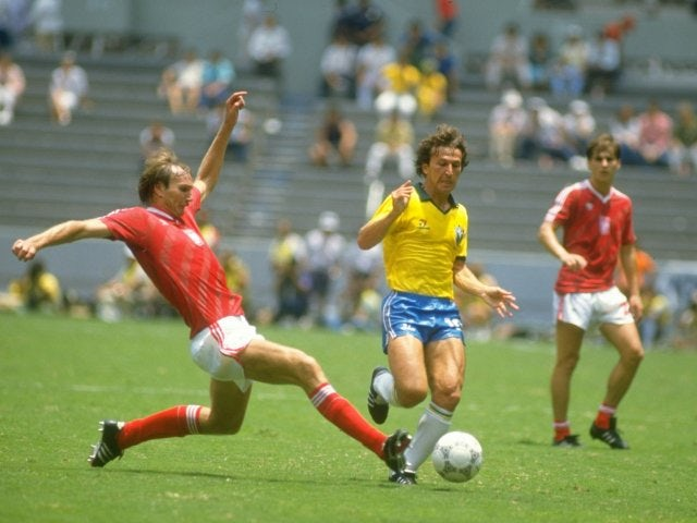 Zico in action for Brazil on June 16, 1986.
