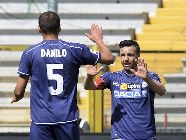 Antonio Di Natale of Udinese Calcio celebrate after scoring his team's first goal during the Serie A match against AS Livorno on May 4, 2014