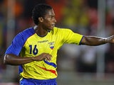 Manchester United winger Antonio Valencia celebrates scoring for Ecuador on June 27, 2007.
