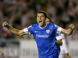Athletic Bilbao's midfielder Oscar de Marcos celebrates after scoring during the Spanish league football match Rayo Vallecano vs Athletic de Bilbao at the Vallecas stadium in Madrid on May 2, 2014