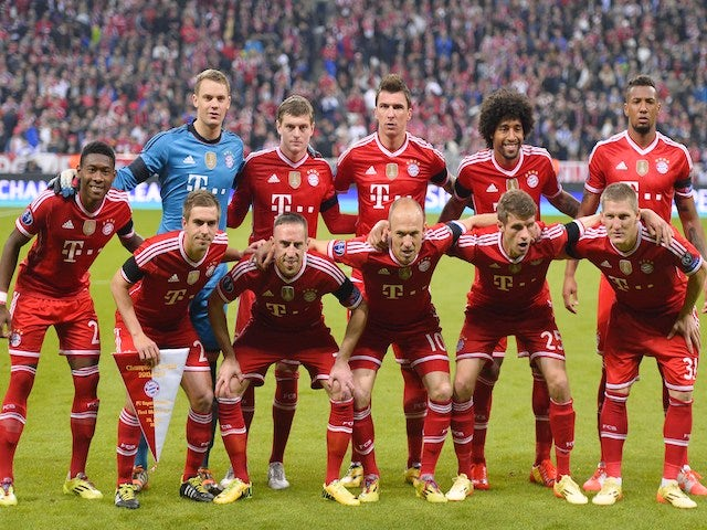 The Bayern Munich team line up before their Champions League semi final against Real Madrid on April 29, 2014