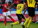 Callum Harriott of Charlton scores his goal during the Sky Bet Championship match between Charlton Athletic and Watford at The Valley on April 29, 2014