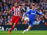 Mario Suarez of Club Atletico de Madrid closes down Fernando Torres of Chelsea during the UEFA Champions League semi-final second leg match between Chelsea and Club Atletico de Madrid at Stamford Bridge on April 30, 2014