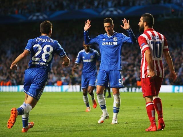 Fernando Torres of Chelsea celebrates scoring the opening goal during the UEFA Champions League semi-final second leg match between Chelsea and Club Atletico de Madrid at Stamford Bridge on April 30, 2014