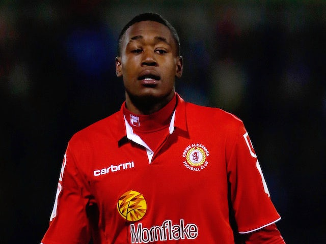 Chuks Aneke of Crewe in action during the Johnstone's Paint Trophy Northern Section Final Second Leg match against Coventry City on February 20, 2013