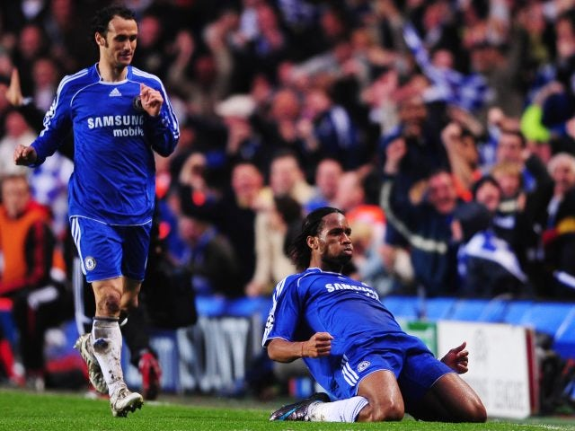 Didier Drogba, then of Chelsea, celebrates scoring against Liverpool in the Champions League on April 30, 2008.