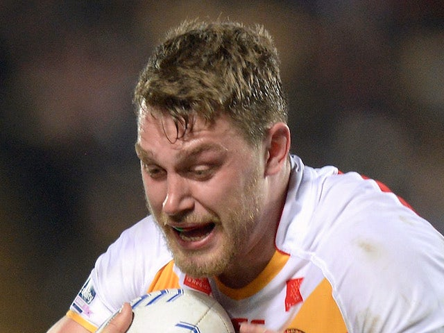 Elliott Whitehead of Catalan Dragons in action on February 14, 2014