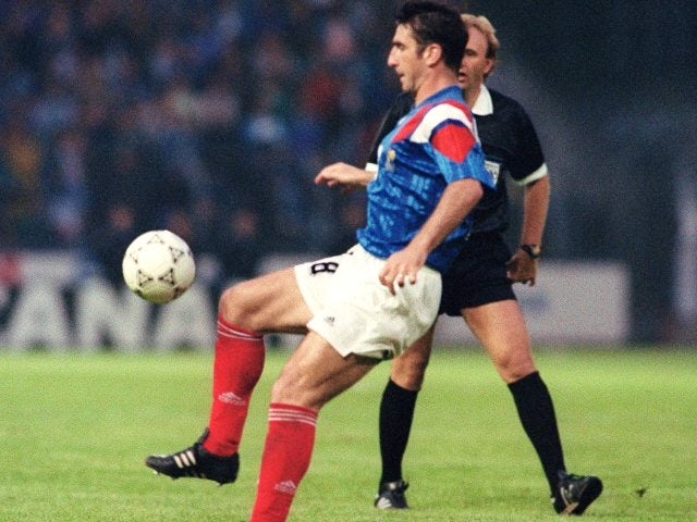 Former Manchester United striker Eric Cantona in action for France on June 05, 1992.
