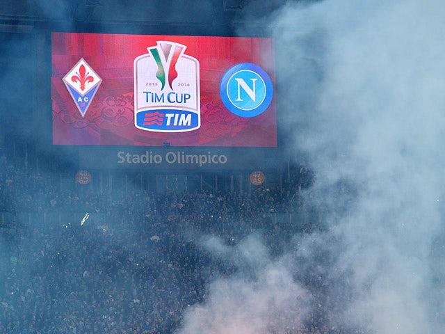 Fans wait in the stands before kick-off in the Coppa Italia Cup final between Fiorentina and Napoli on May 3, 3014
