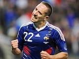 Bayern Munich winger Franck Ribery celebrates scoring for France on May 26, 2010.