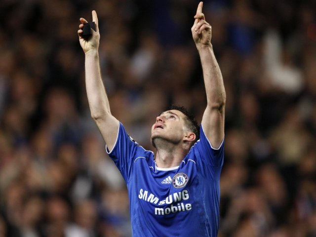 Chelsea midfielder Frank Lampard celebrates scoring a penalty against Liverpool in the Champions League on April 30, 2008.