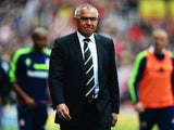 Fulham manager Felix Magath reacts as his side are relegated following their defeat in the Barclays Premier League match between Stoke City and Fulham at the Britannia Stadium on May 3, 201