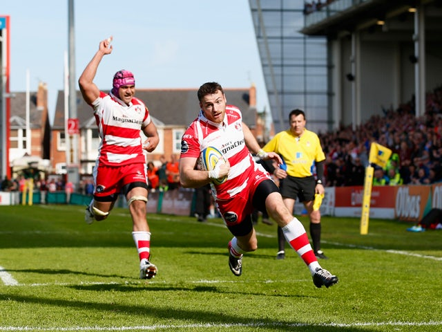 Shane Monahan of Gloucester scores the winning try during the Aviva Premiership match between Gloucester and London Irish at Kingsholm Stadium on May 3, 2014