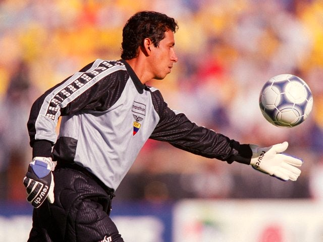 Goalkeeper Jose Cevallos in action for Ecuador on April 24, 2001.