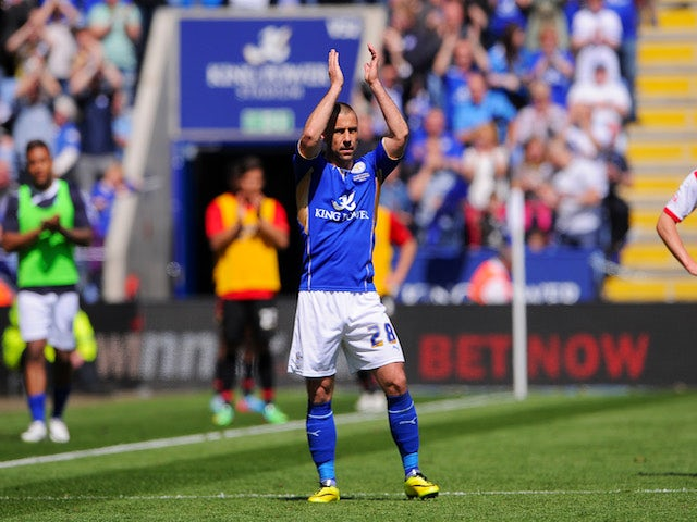 Kevin Phillips of Leicester City is subbed during his final career appearance during the Sky Bet Championship match against Doncaster Rovers at The King Power Stadium on May 3, 2014