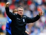 Lee Clark manager of Birmingham City celebrates as they avoid relegation after the Sky Bet Championship match against Bolton Wanderers on May 3, 2014