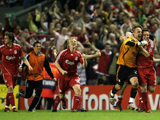 The Liverpool team celebrates after they won the UEFA Champions League semi final second leg match between Liverpool and Chelsea at Anfield on May 1, 2007