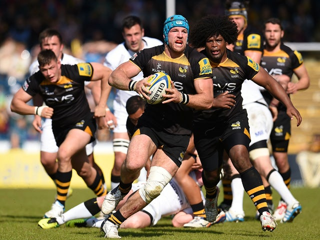 James Haskell of London Wasps in action during the Aviva Premiership match between London Wasps and Newcastle Falcons at Adams Park on May 03, 2014