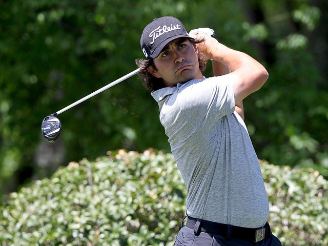 Martin Flores in action on the 5th hole during the third round of the Wells Fargo Championship on May 3, 2014