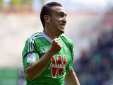 Saint-Etienne's French forward Mevlut Erding celebrates after scoring a goal during the French L1 football match AS Saint-Etienne (ASSE) vs Montpellier (MHSC) on May 4, 2014