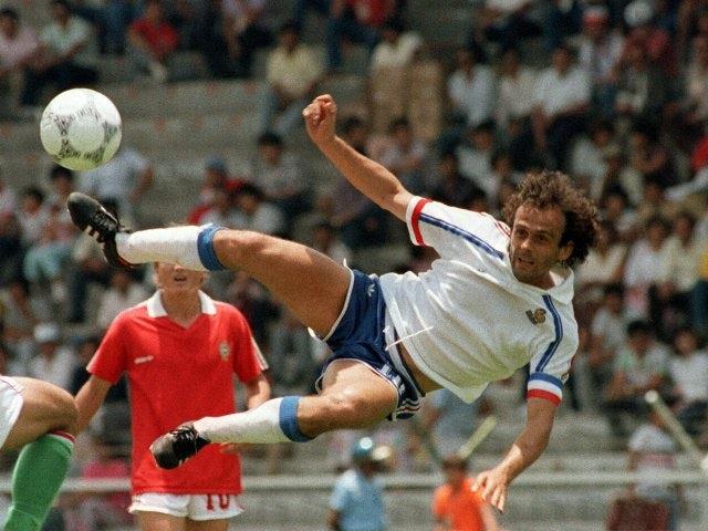 France's Michel Platini attempts an acrobatic effort on June 09, 1986.
