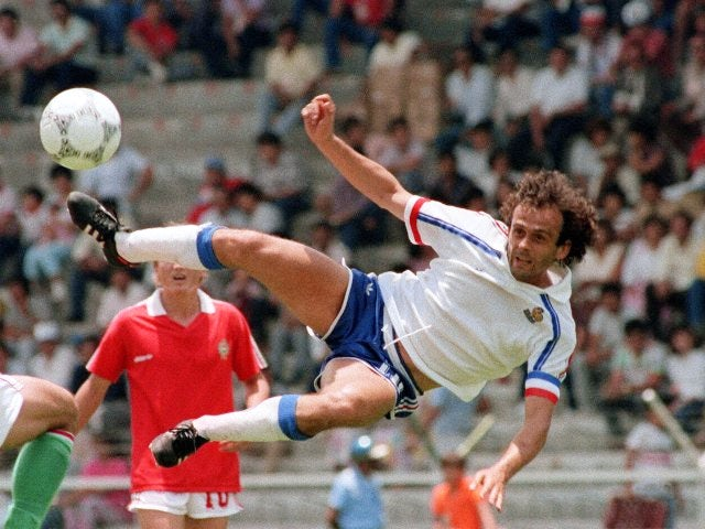 France's Michel Platini attempts an acrobatic effort on June 09, 1986.