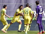 Nantes' Venezuelian defender Oswaldo Vizcarrondo celebrates after scoring a goal during the French L1 football match between Reims (SR) and Evian (ETGFC) on May 4, 2014