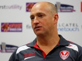 Head coach Nathan Brown of St Helens speaks during a press conference after the Super League match between St Helens and Wigan Warriors at Langtree Park on April 18, 2014