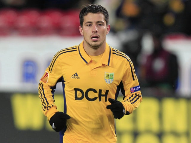 Sebastian Blanco of FC Metalist Kharkiv in action during the UEFA Europa League group stage match between Rosenborg BK and FC Metalist Kharkiv held on October 25, 2012