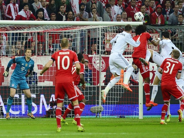 Sergio Ramos scores during the UEFA Champions League second-leg semi-final football match against FC Bayern Munich on April 29, 2014