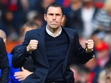 Gustavo Poyet the Sunderland manager celebrates his team's 1-0 victory during the Barclays Premier League match between Manchester United and Sunderland at Old Trafford on May 3, 2014