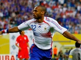 Former Arsenal striker Thierry Henry celebrates scoring for France against South Korea on June 18, 2006.