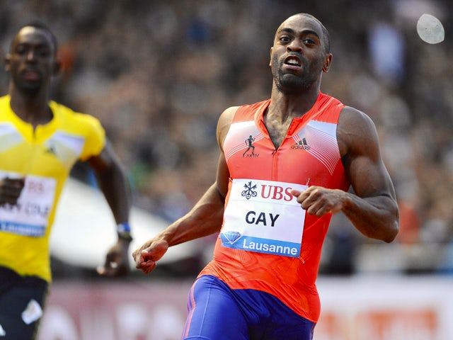 Tyson Gay of the US won the men's 100 m during the Diamond League Athletics meeting 'Athletissima' on July, 4, 2013