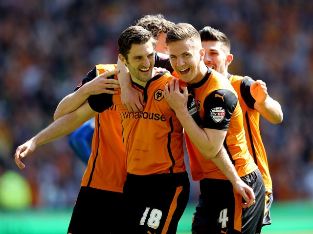 Samuel Ricketts of Wolves celebrate after scoring their first goal during the Sky Bet League One match between Wolverhampton Wanderers and Carlisle United at Molineux on May 3, 2014