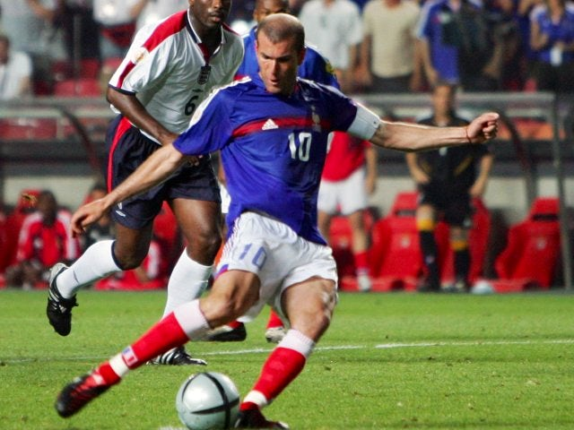 Zinedine Zidance scores a penalty for France against England on June 13, 2014.