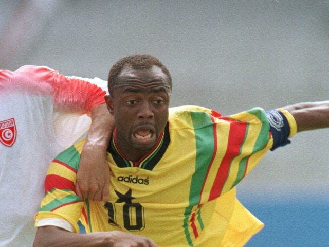 Abedi Pele in action for Ghana on January 19, 1996.