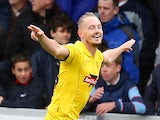 Adam McGurk of Burton Albion celebrates after scoring his sides first goal during the Sky Bet League Two Semi Final First Leg between Burton Albion and Southend United on May 11, 2014
