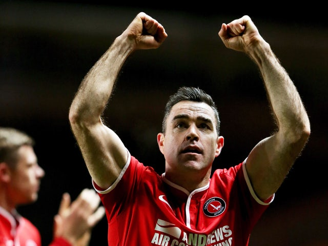 Andy Hughes of Charlton Athletic celebrates after the Sky Bet Championship match between Charlton Athletic and Doncaster Rovers at The Valley on November 26, 2013