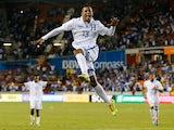 Carlo Costly celebrates scoring for Honduras against Ecuador on November 19, 2013.
