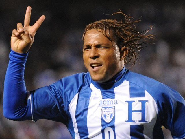 Carlos Pavon celebrates scoring for Honduras on January 23, 2010.