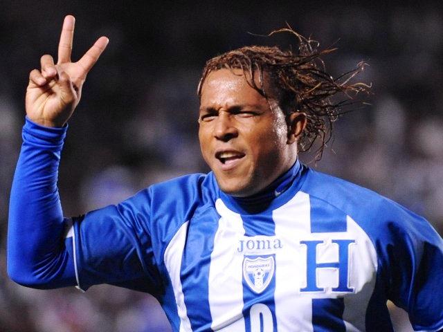 Carlos Pavon celebrates scoring for Honduras on January 23, 2010.